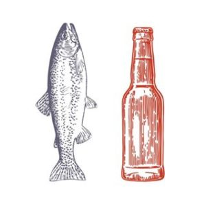 Trout and Bottle for Speckled Trout Cafe