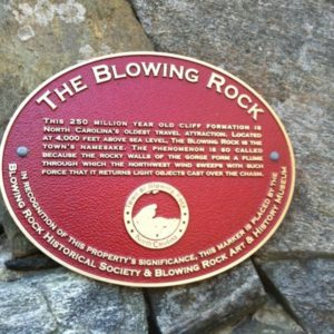 The Blowing Rock Historical Plaque,