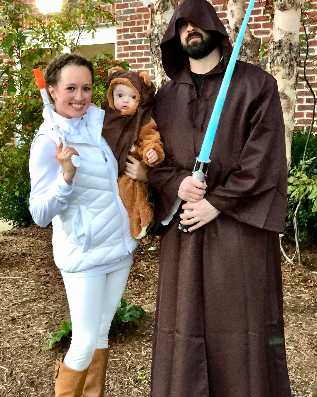 Melissa Boone with her husband Adam, and their son Lincoln dressed up as Star Wars characters for Halloween.